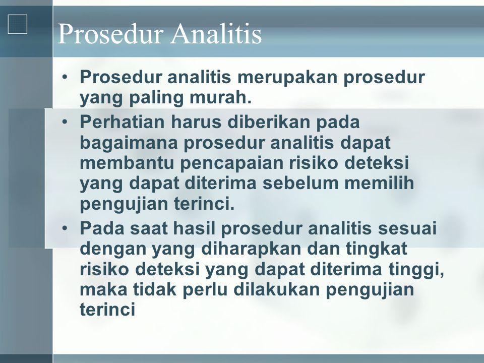 Prosedur Analitis Prosedur analitis merupakan prosedur yang paling murah.