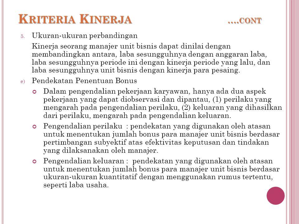 Kriteria Kinerja ….cont