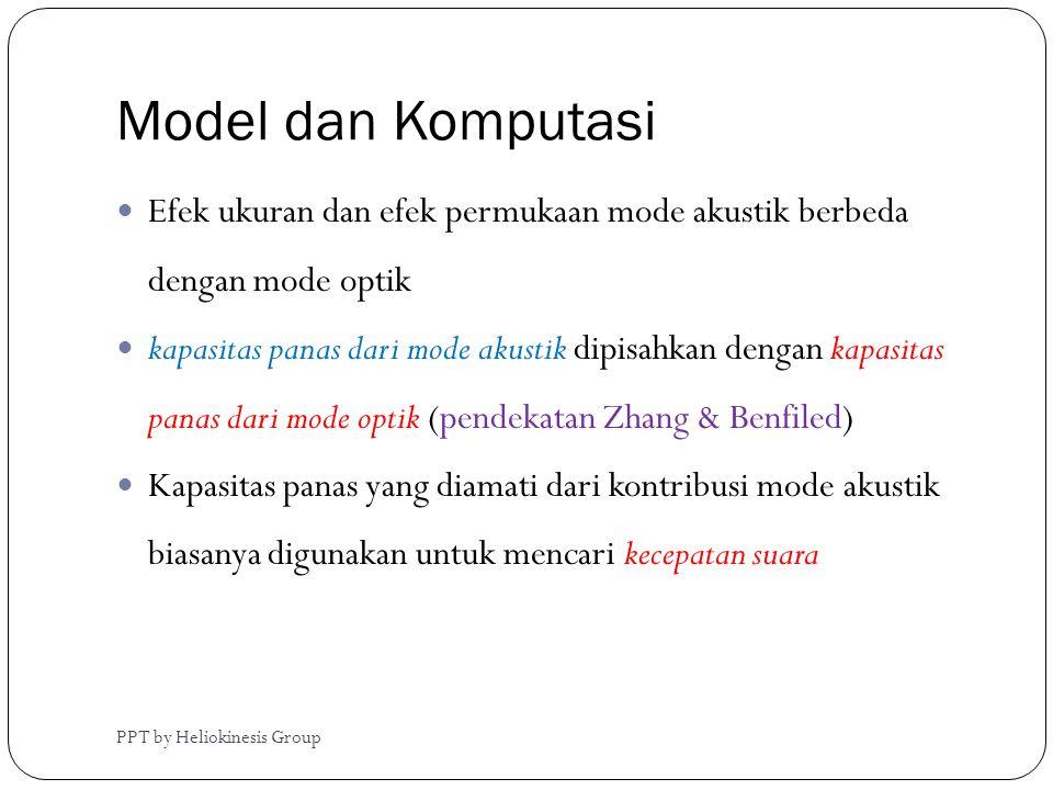 Model dan Komputasi Efek ukuran dan efek permukaan mode akustik berbeda dengan mode optik.