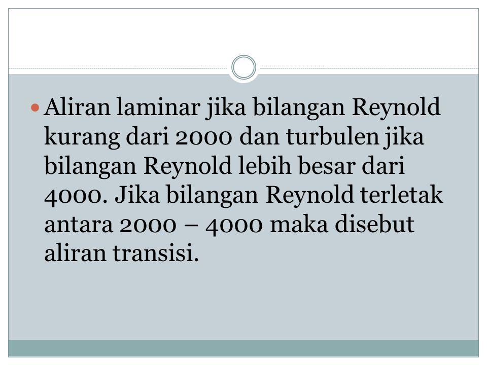 Aliran laminar jika bilangan Reynold kurang dari 2000 dan turbulen jika bilangan Reynold lebih besar dari 4000.