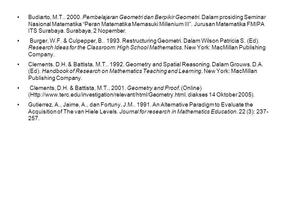 Budiarto, M. T. 2000. Pembelajaran Geometri dan Berpikir Geometri