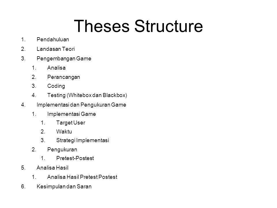 Theses Structure Pendahuluan Landasan Teori Pengembangan Game Analisa