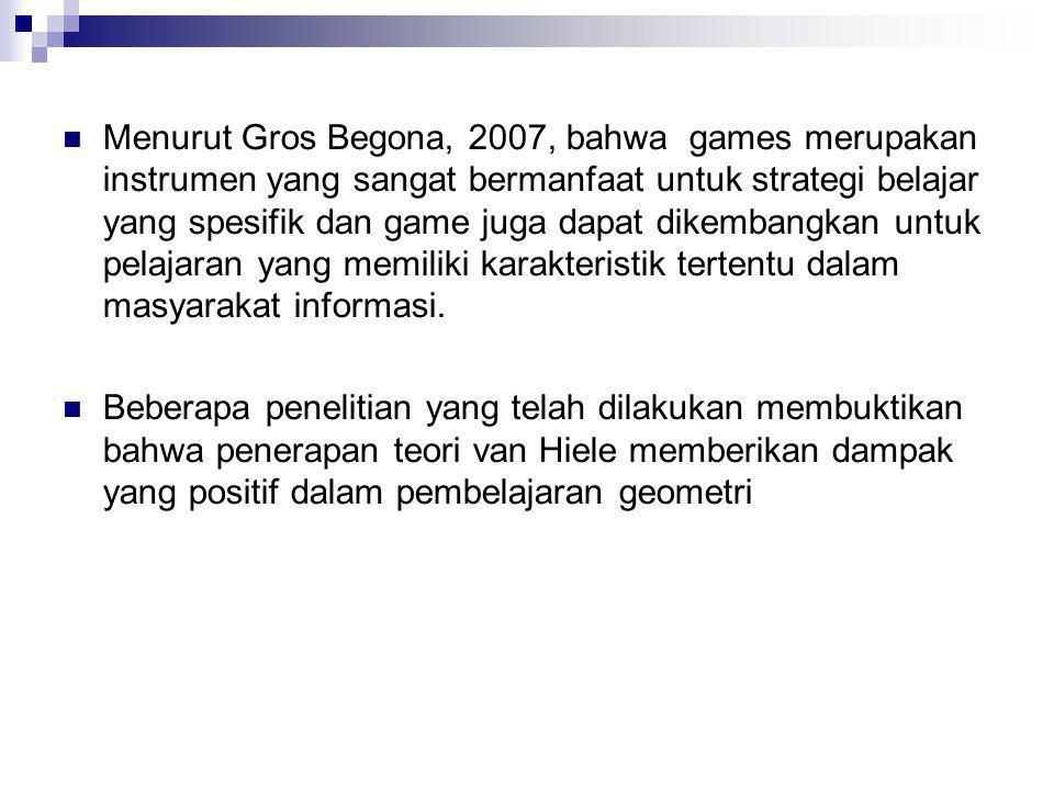 Menurut Gros Begona, 2007, bahwa games merupakan instrumen yang sangat bermanfaat untuk strategi belajar yang spesifik dan game juga dapat dikembangkan untuk pelajaran yang memiliki karakteristik tertentu dalam masyarakat informasi.