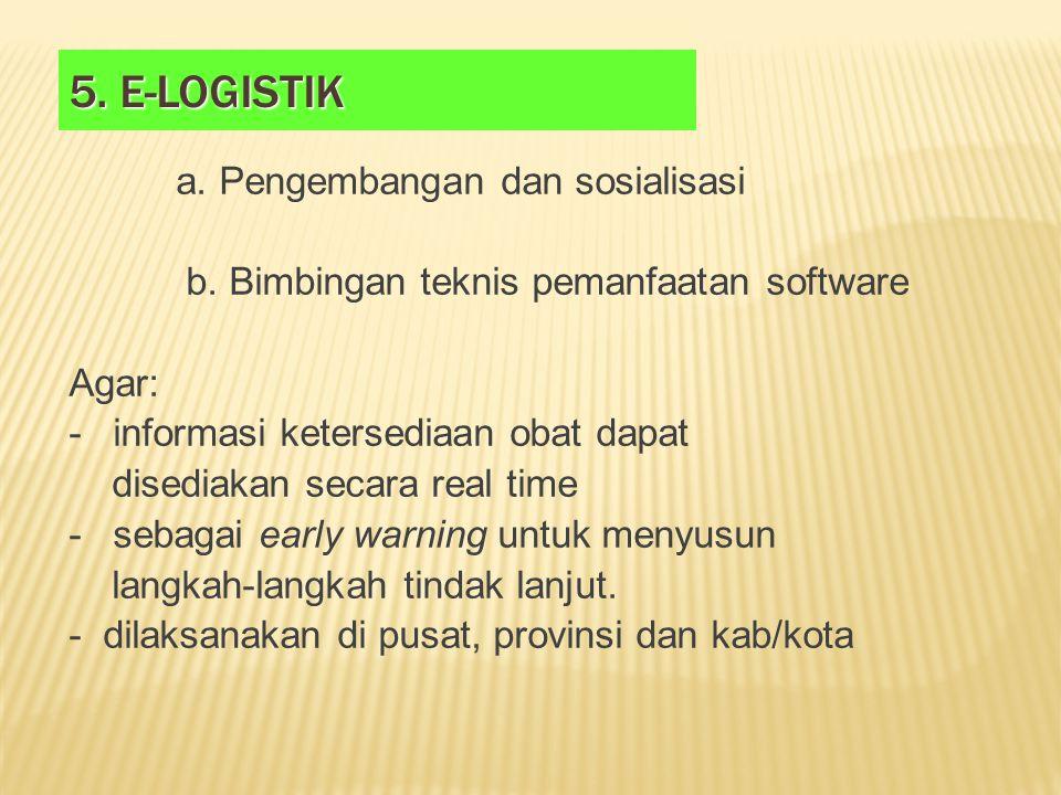 5. E-logistik b. Bimbingan teknis pemanfaatan software Agar:
