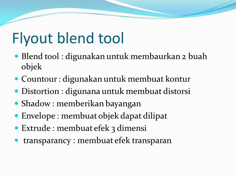 Flyout blend tool Blend tool : digunakan untuk membaurkan 2 buah objek