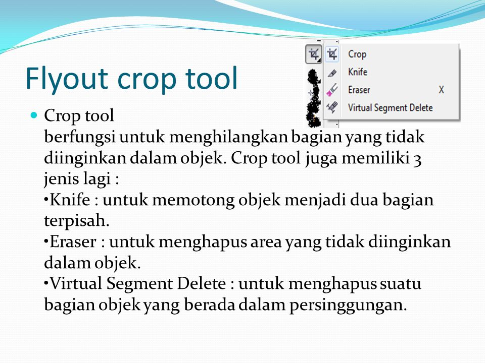 Flyout crop tool