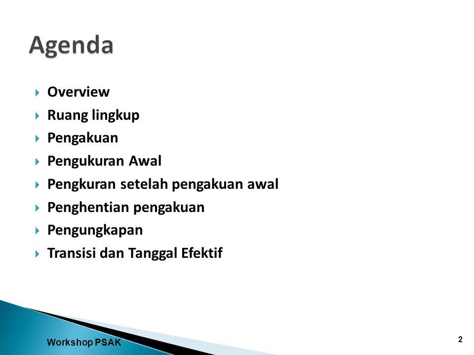 Agenda Overview Ruang lingkup Pengakuan Pengukuran Awal