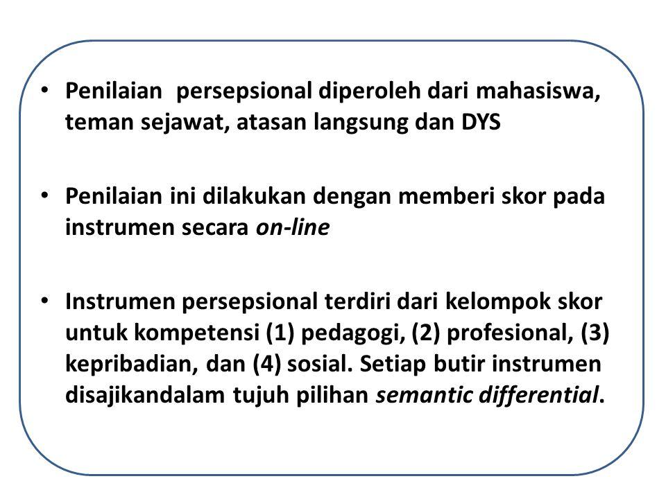 Penilaian persepsional diperoleh dari mahasiswa, teman sejawat, atasan langsung dan DYS