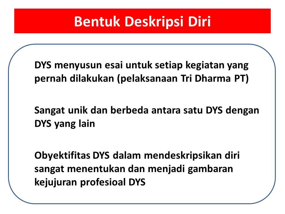 Bentuk Deskripsi Diri DYS menyusun esai untuk setiap kegiatan yang pernah dilakukan (pelaksanaan Tri Dharma PT)