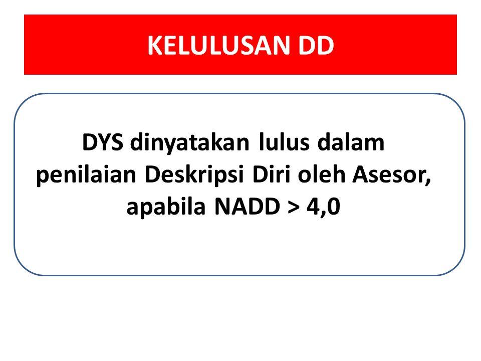 KELULUSAN DD DYS dinyatakan lulus dalam penilaian Deskripsi Diri oleh Asesor, apabila NADD > 4,0.