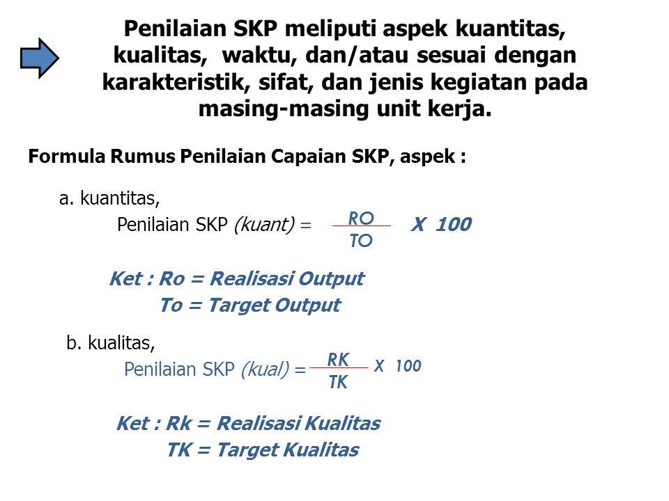 Penilaian SKP meliputi aspek kuantitas, kualitas, waktu, dan/atau sesuai dengan karakteristik, sifat, dan jenis kegiatan pada masing-masing unit kerja.