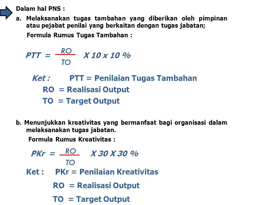 Ket : PTT = Penilaian Tugas Tambahan RO = Realisasi Output