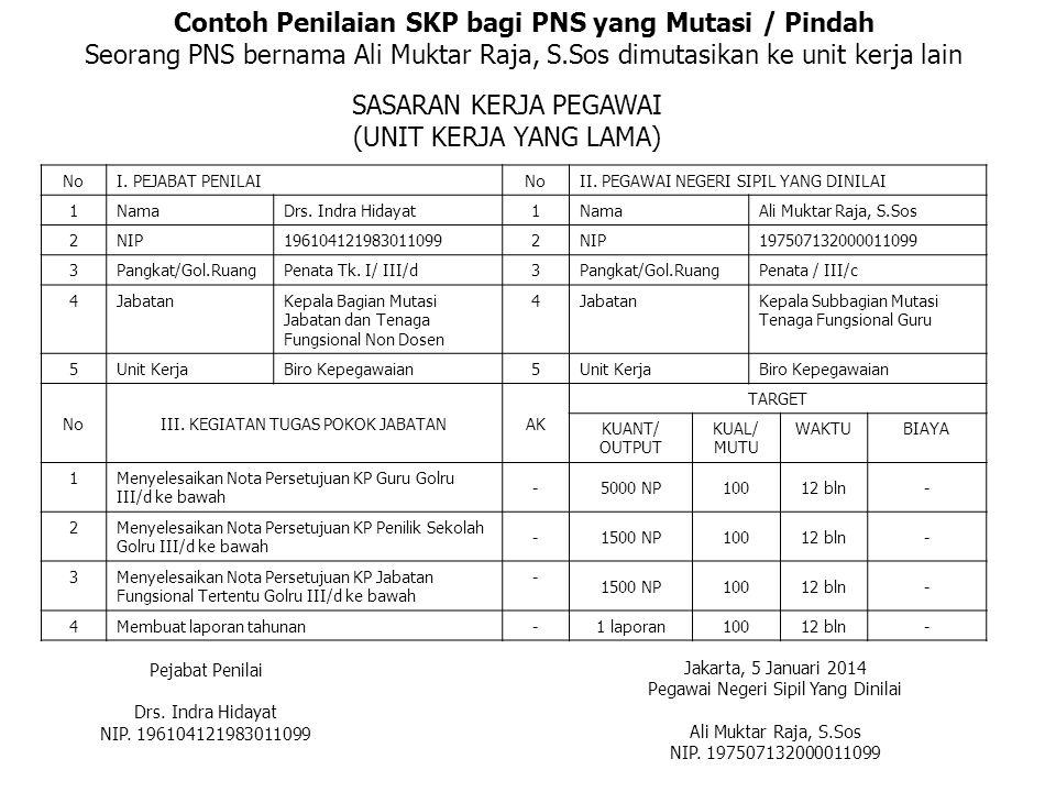 Contoh Penilaian SKP bagi PNS yang Mutasi / Pindah