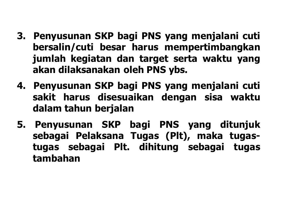 3. Penyusunan SKP bagi PNS yang menjalani cuti bersalin/cuti besar harus mempertimbangkan jumlah kegiatan dan target serta waktu yang akan dilaksanakan oleh PNS ybs.