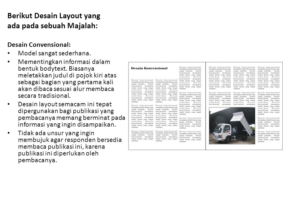 Berikut Desain Layout yang ada pada sebuah Majalah: