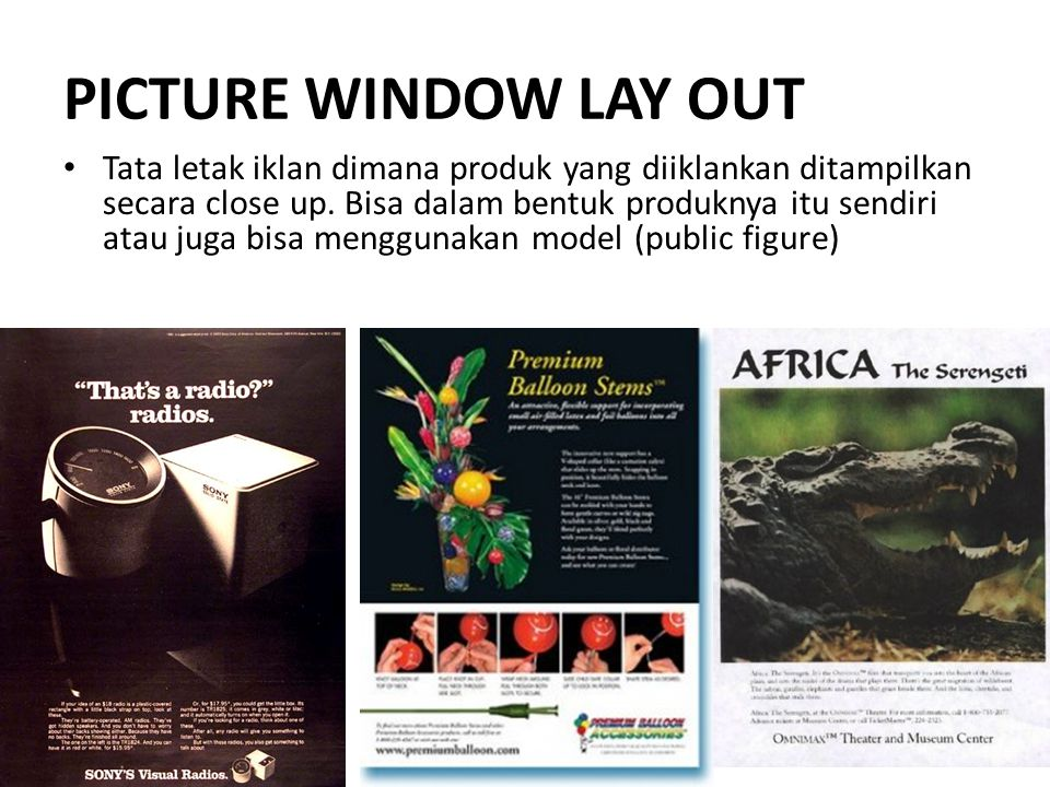 PICTURE WINDOW LAY OUT