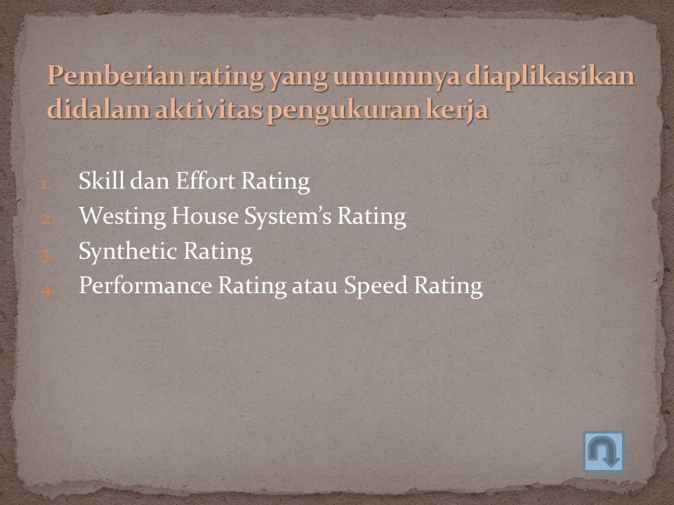 Pemberian rating yang umumnya diaplikasikan didalam aktivitas pengukuran kerja