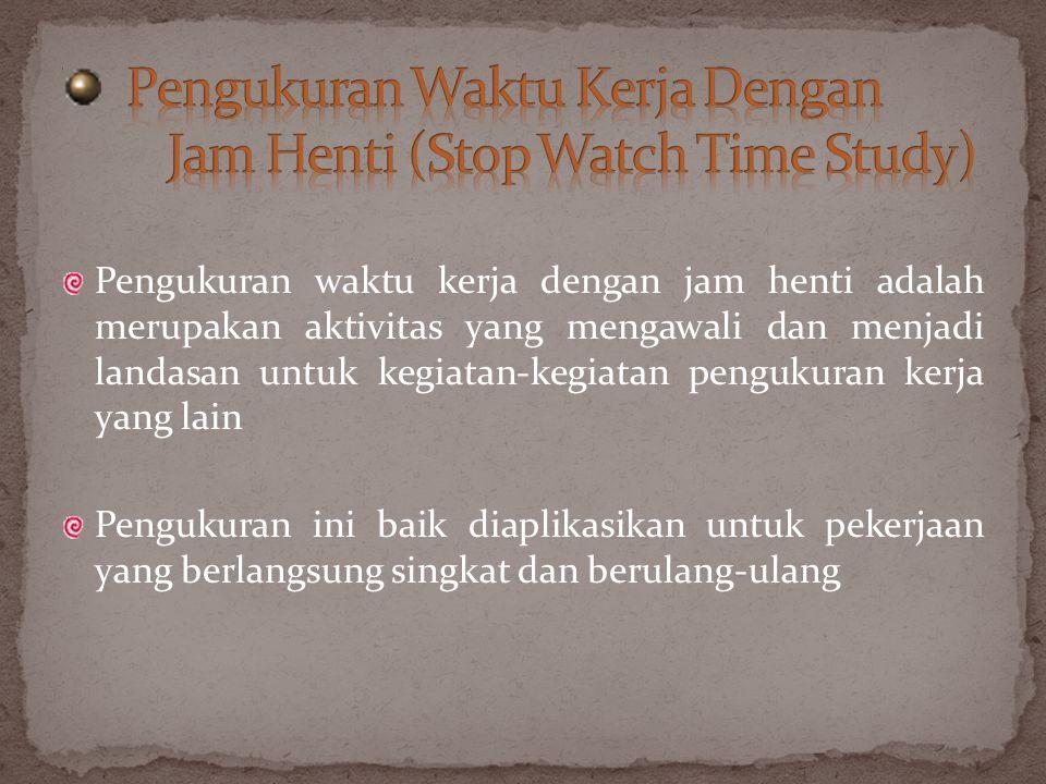 Pengukuran Waktu Kerja Dengan Jam Henti (Stop Watch Time Study)