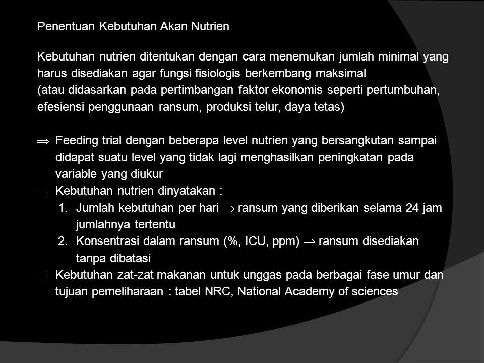 Penentuan Kebutuhan Akan Nutrien