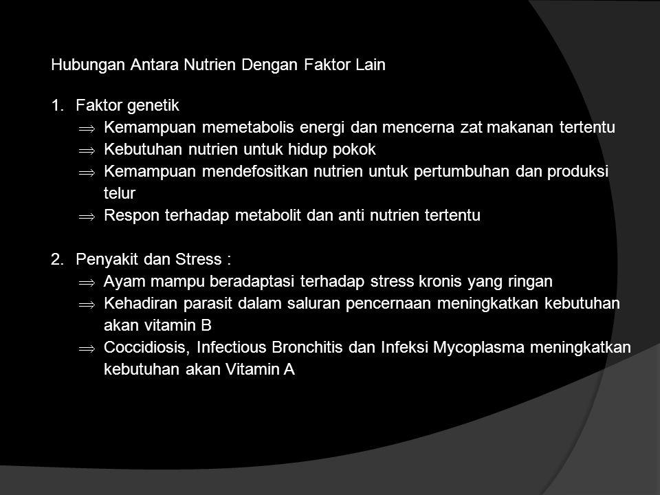 Hubungan Antara Nutrien Dengan Faktor Lain