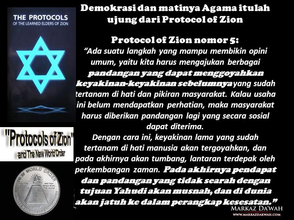 Demokrasi dan matinya Agama itulah ujung dari Protocol of Zion