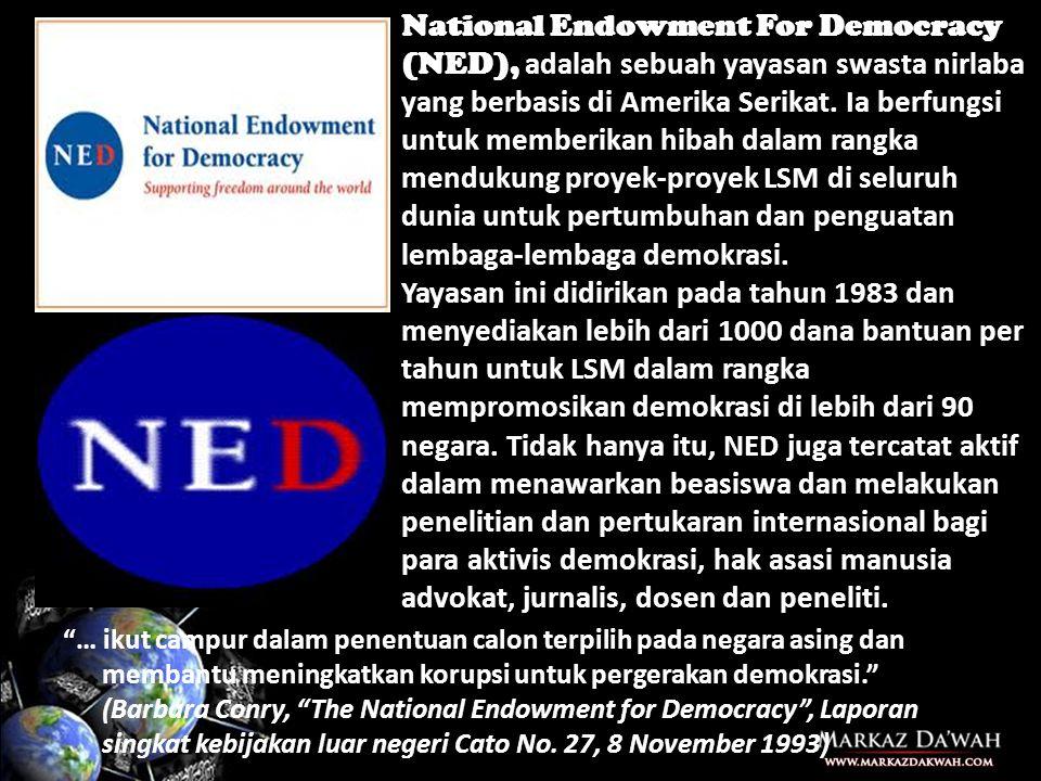 National Endowment For Democracy (NED), adalah sebuah yayasan swasta nirlaba yang berbasis di Amerika Serikat. Ia berfungsi untuk memberikan hibah dalam rangka mendukung proyek-proyek LSM di seluruh dunia untuk pertumbuhan dan penguatan lembaga-lembaga demokrasi.