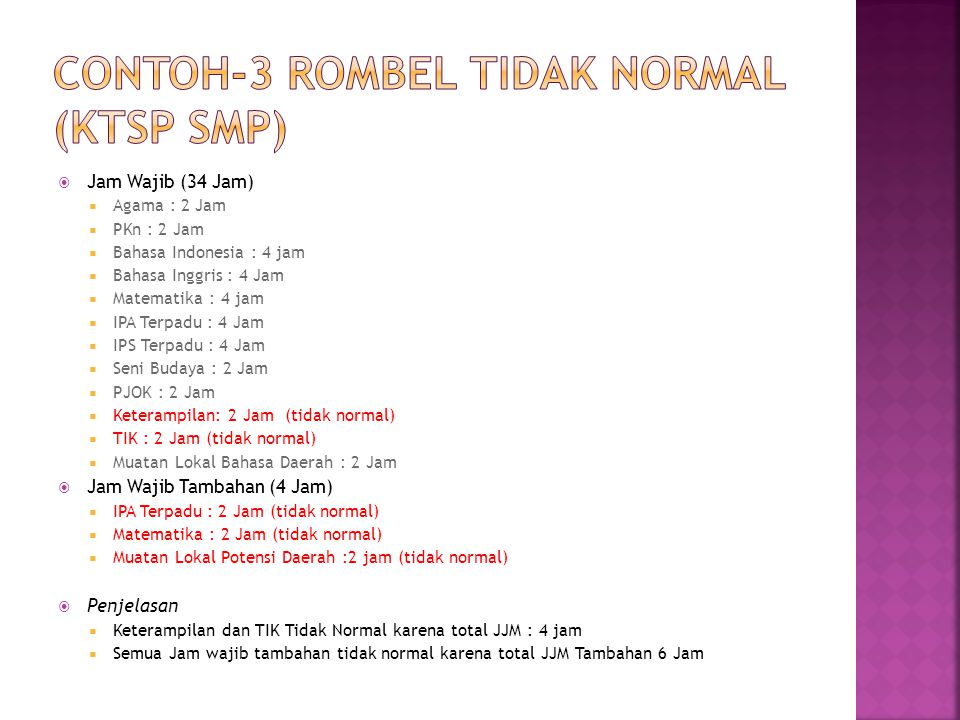 CONTOH-3 ROMBEL TIDAK NORMAL (KTSP SMP)