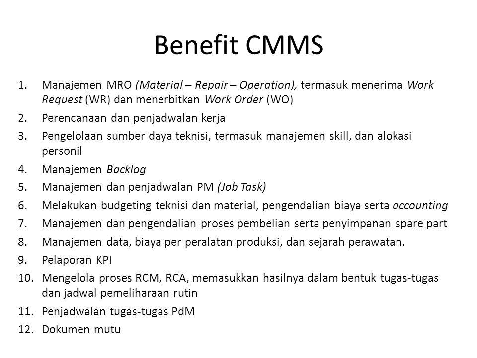 Benefit CMMS Manajemen MRO (Material – Repair – Operation), termasuk menerima Work Request (WR) dan menerbitkan Work Order (WO)