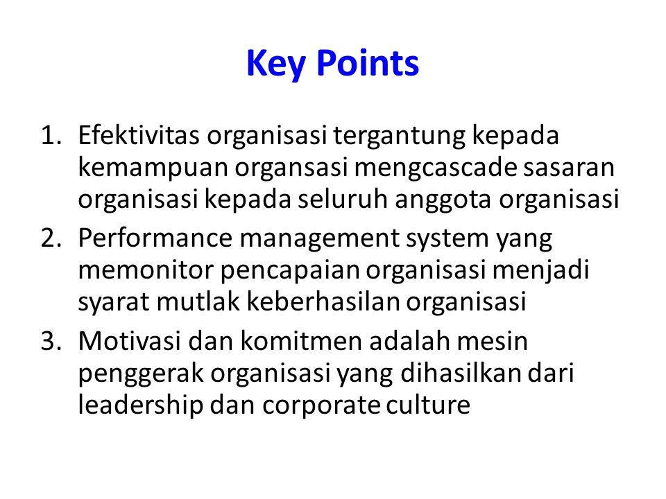 Key Points Efektivitas organisasi tergantung kepada kemampuan organsasi mengcascade sasaran organisasi kepada seluruh anggota organisasi.