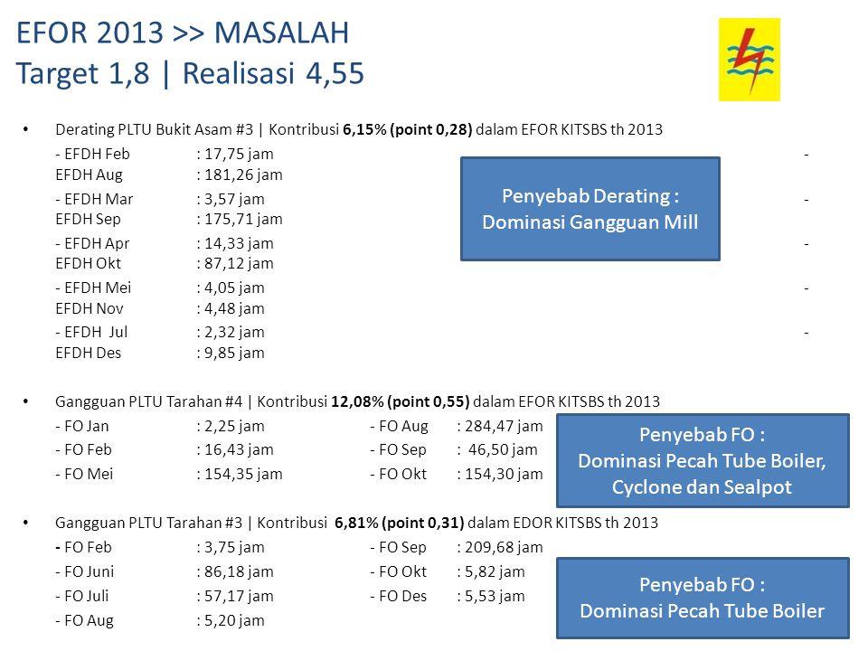 EFOR 2013 >> MASALAH Target 1,8 | Realisasi 4,55