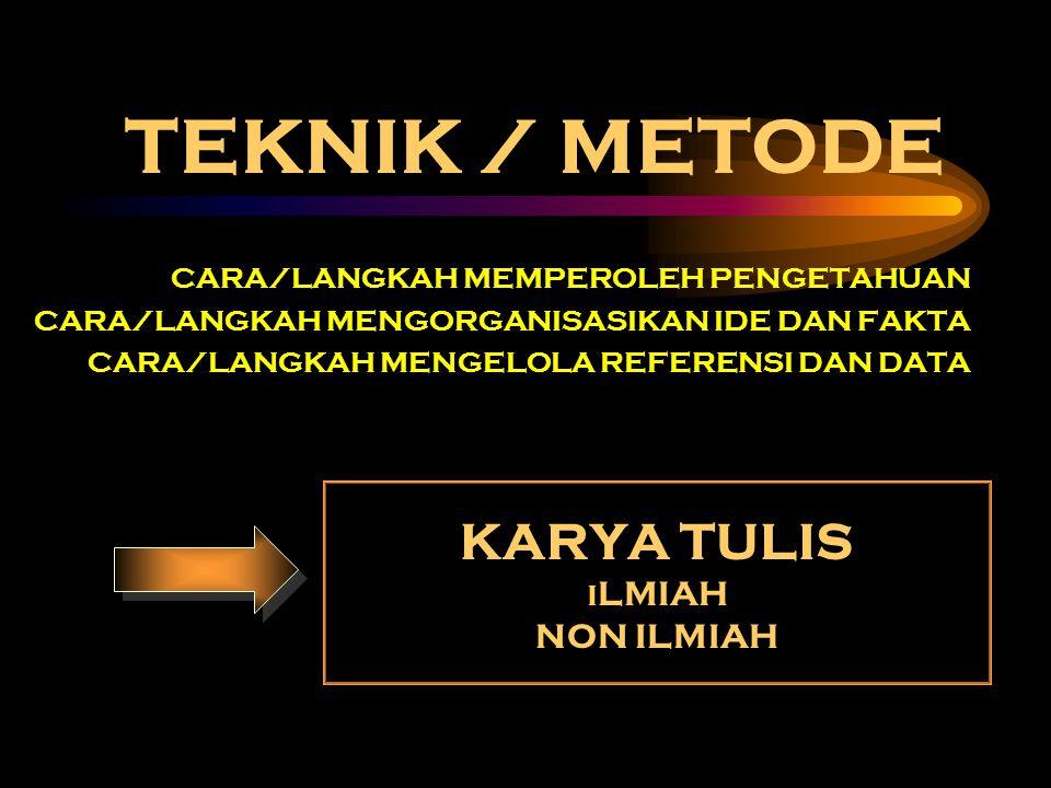 TEKNIK / METODE KARYA TULIS NON ILMIAH