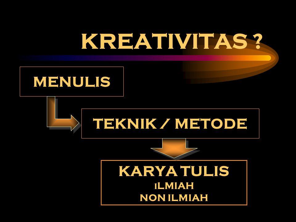 KREATIVITAS MENULIS TEKNIK / METODE KARYA TULIS ILMIAH NON ILMIAH