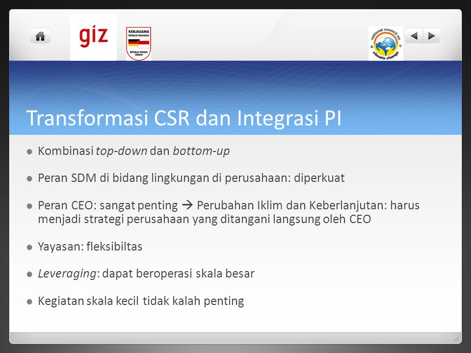 Transformasi CSR dan Integrasi PI