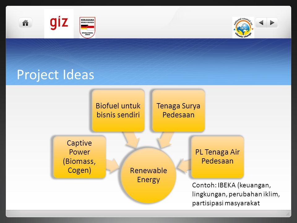 Project Ideas Renewable Energy. Captive Power (Biomass, Cogen) Biofuel untuk bisnis sendiri. Tenaga Surya Pedesaan.