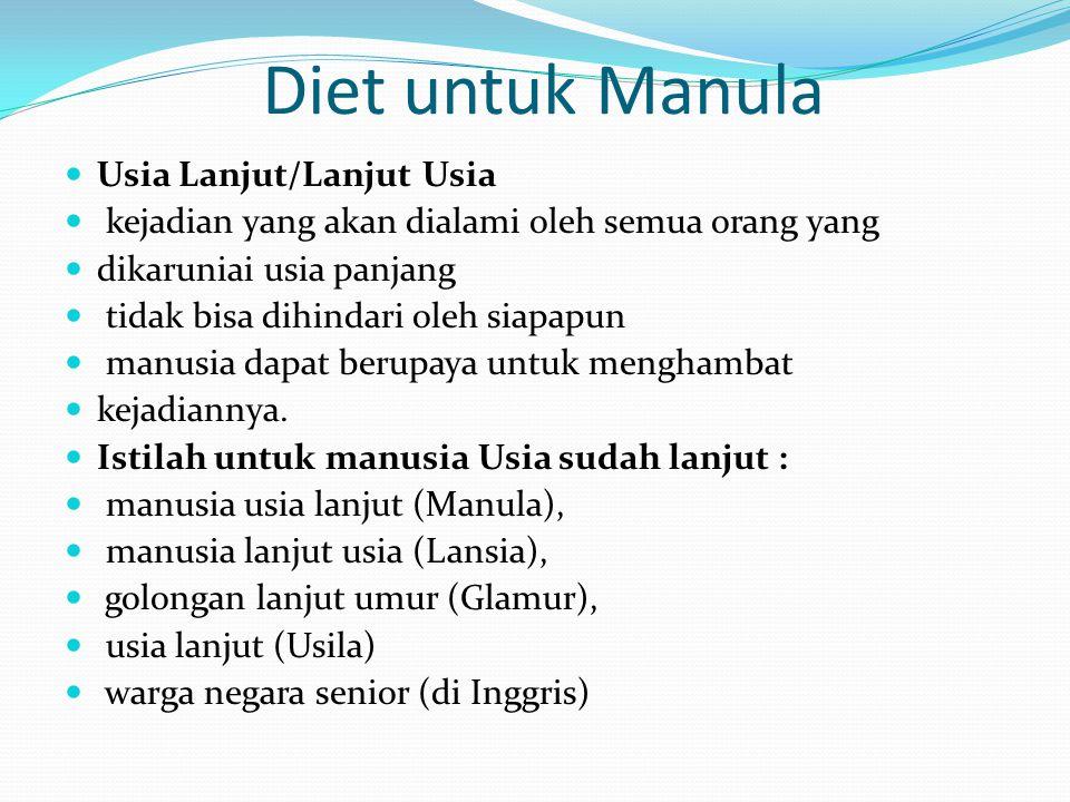 Diet untuk Manula Usia Lanjut/Lanjut Usia