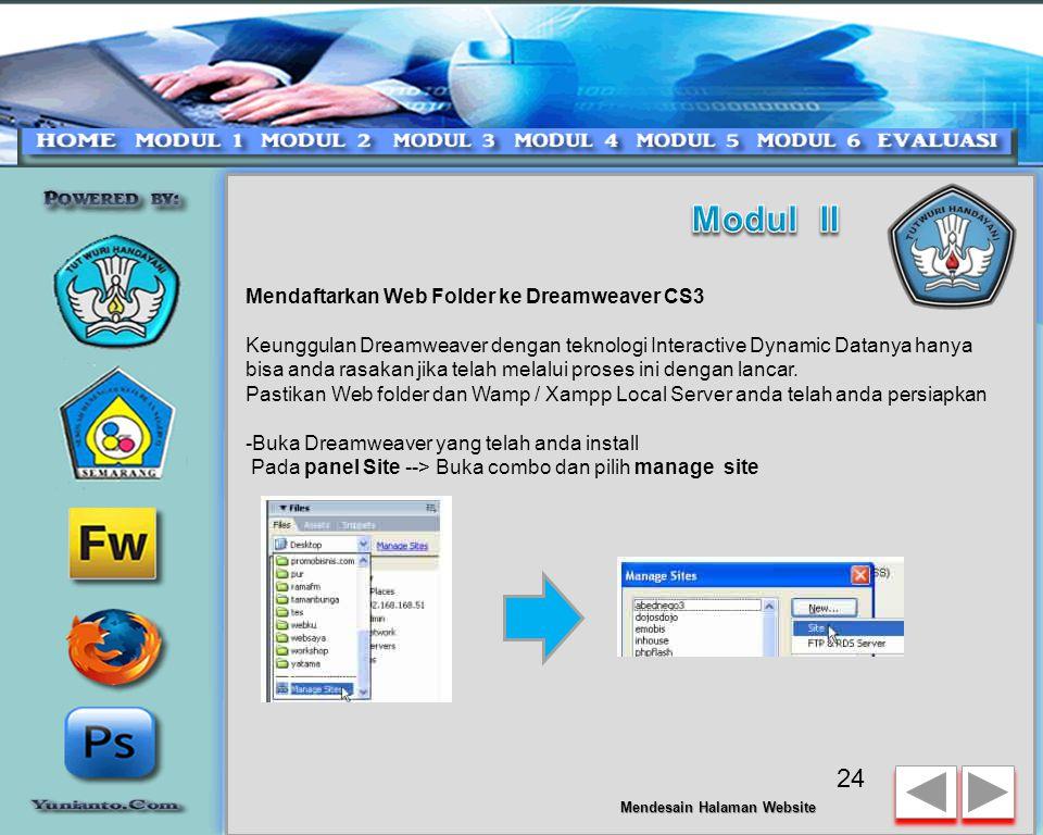 Modul II Mendaftarkan Web Folder ke Dreamweaver CS3