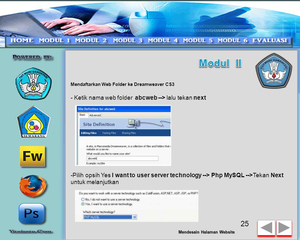Modul II - Ketik nama web folder abcweb --> lalu tekan next