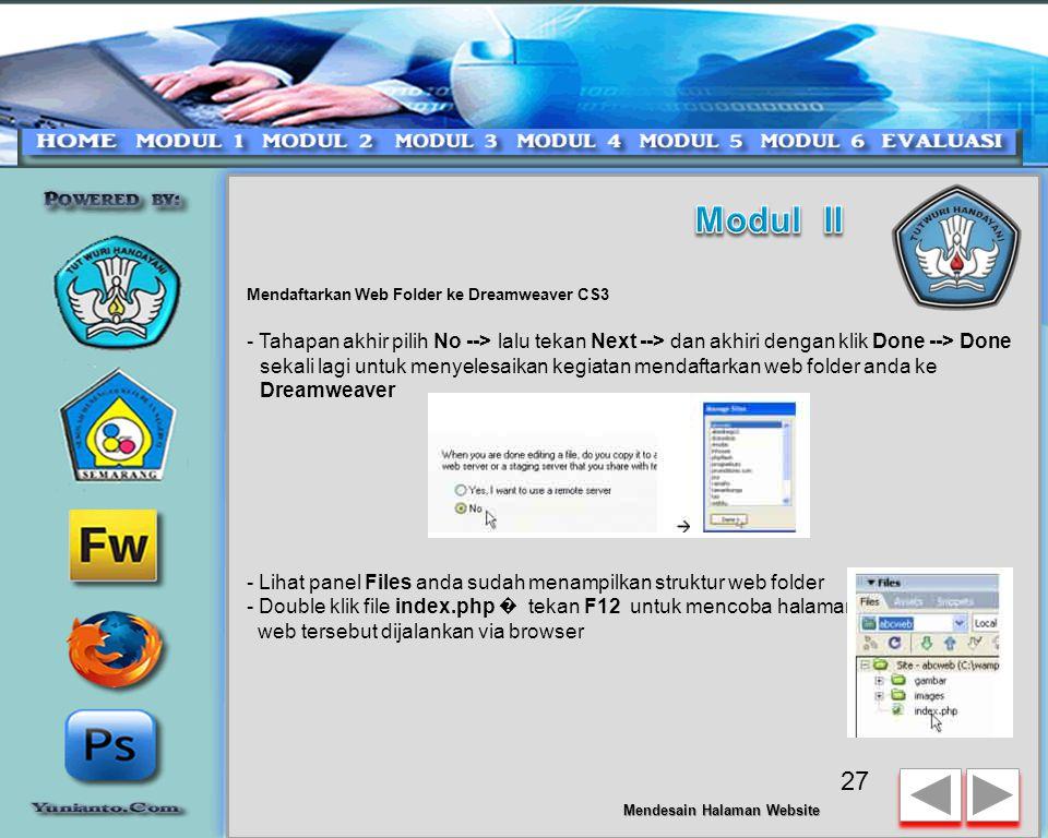 Modul II Mendaftarkan Web Folder ke Dreamweaver CS3.