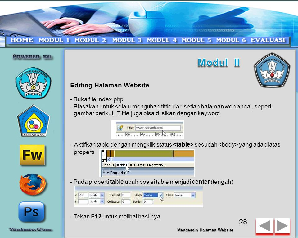 Modul II Editing Halaman Website - Buka file index.php