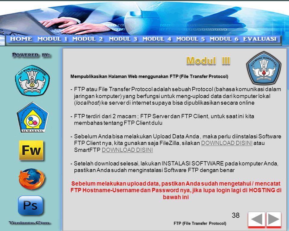 Modul III Mempublikasikan Halaman Web menggunakan FTP (File Transfer Protocol)
