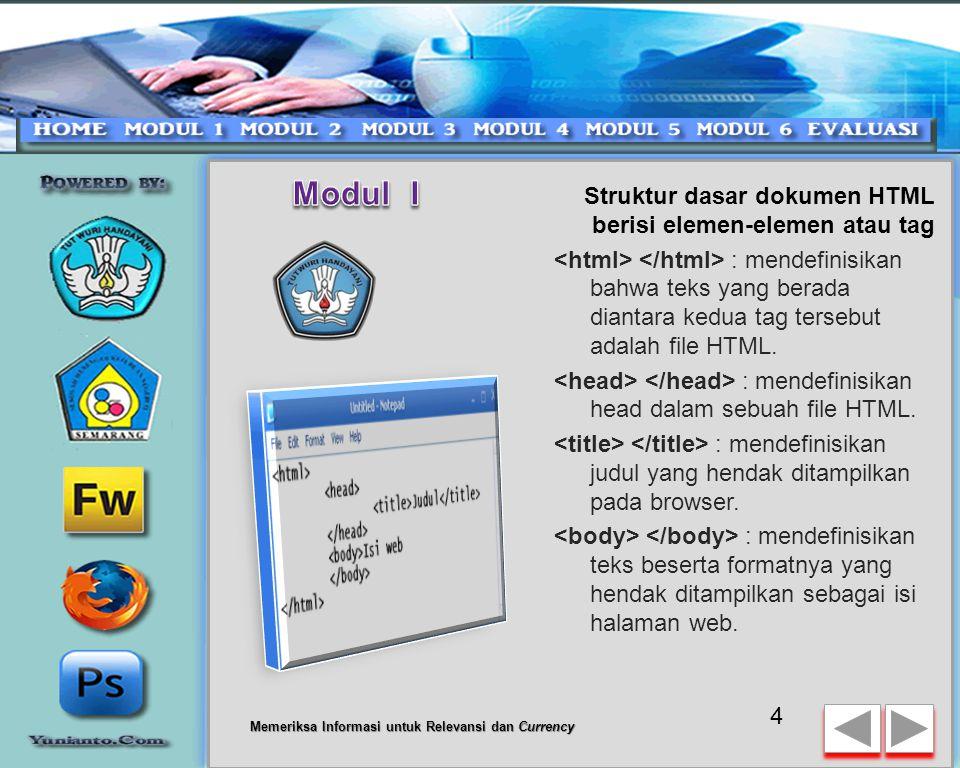 Modul I Struktur dasar dokumen HTML berisi elemen-elemen atau tag