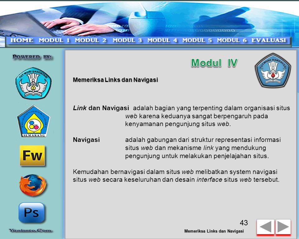 Modul IV Memeriksa Links dan Navigasi.