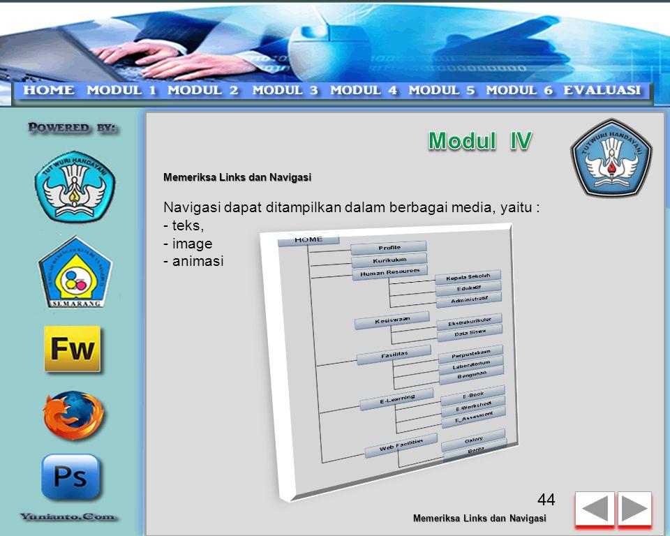 Modul IV Navigasi dapat ditampilkan dalam berbagai media, yaitu :