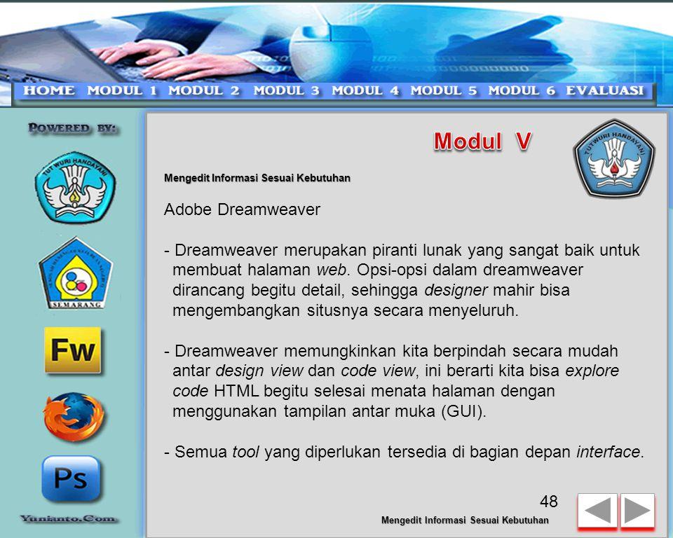 Modul V Adobe Dreamweaver