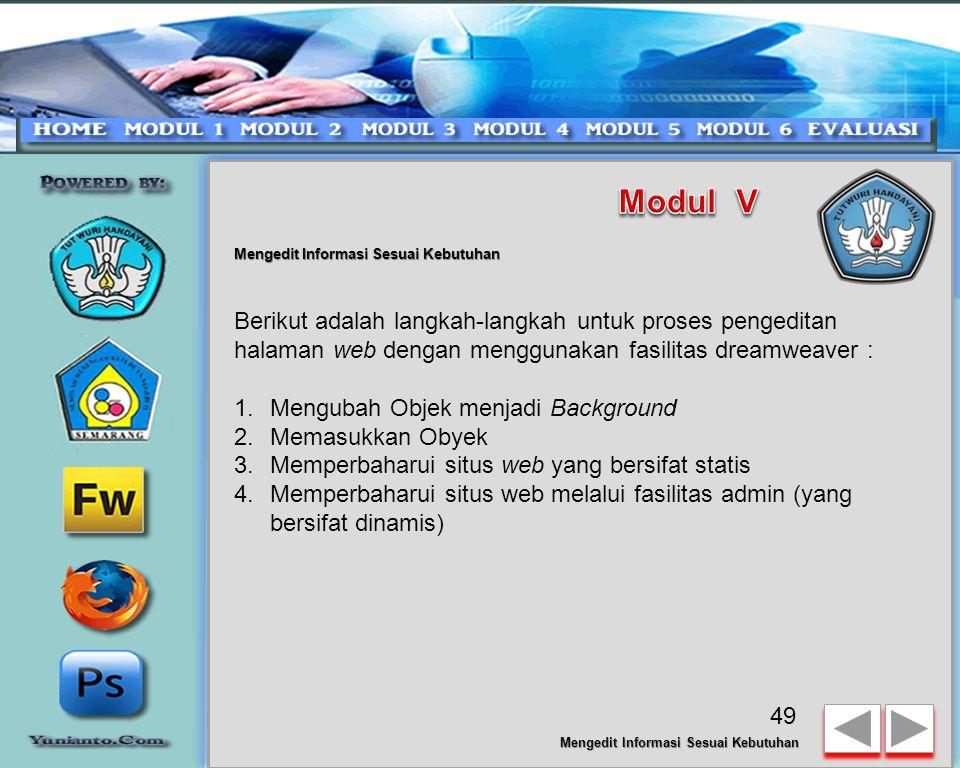 Modul V Mengedit Informasi Sesuai Kebutuhan.