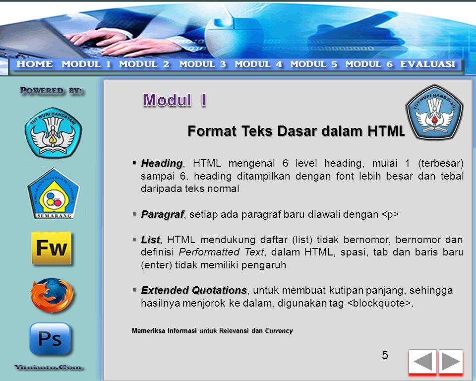 Format Teks Dasar dalam HTML