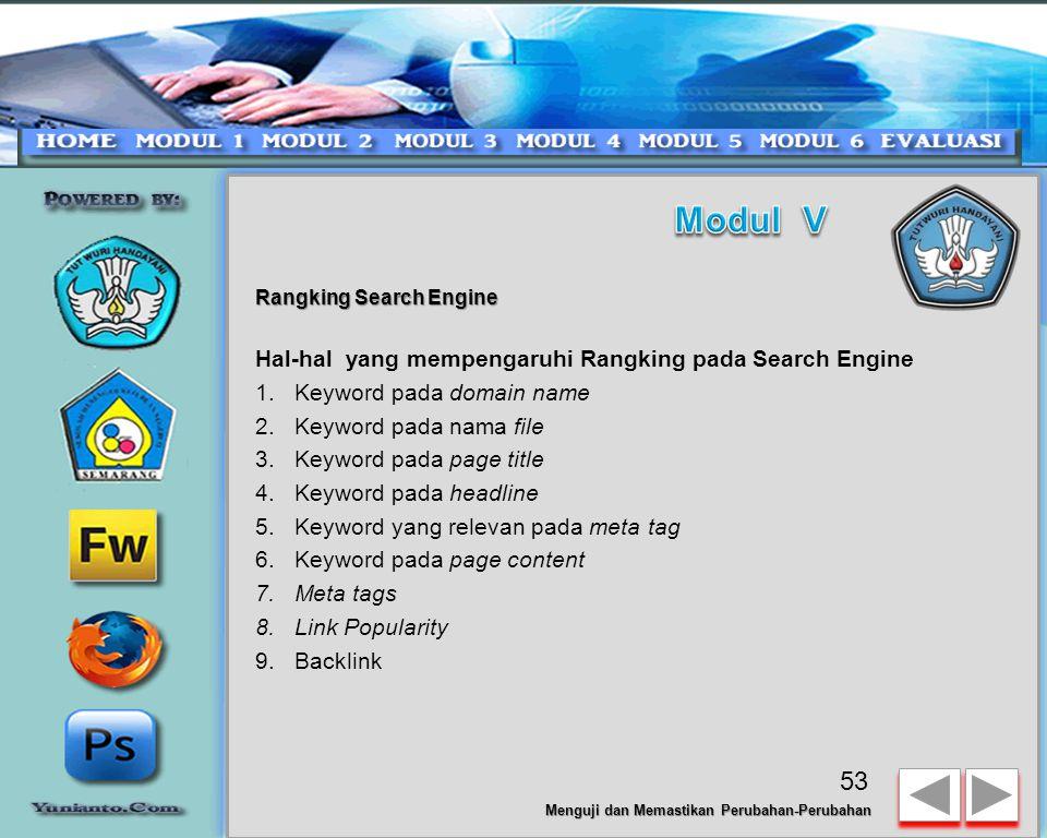 Modul V Hal-hal yang mempengaruhi Rangking pada Search Engine