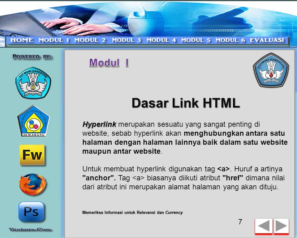 Modul I Dasar Link HTML.