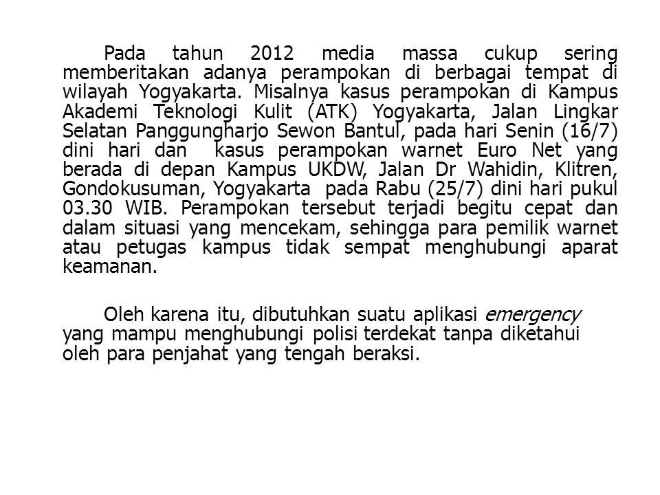 Pada tahun 2012 media massa cukup sering memberitakan adanya perampokan di berbagai tempat di wilayah Yogyakarta. Misalnya kasus perampokan di Kampus Akademi Teknologi Kulit (ATK) Yogyakarta, Jalan Lingkar Selatan Panggungharjo Sewon Bantul, pada hari Senin (16/7) dini hari dan kasus perampokan warnet Euro Net yang berada di depan Kampus UKDW, Jalan Dr Wahidin, Klitren, Gondokusuman, Yogyakarta pada Rabu (25/7) dini hari pukul 03.30 WIB. Perampokan tersebut terjadi begitu cepat dan dalam situasi yang mencekam, sehingga para pemilik warnet atau petugas kampus tidak sempat menghubungi aparat keamanan.