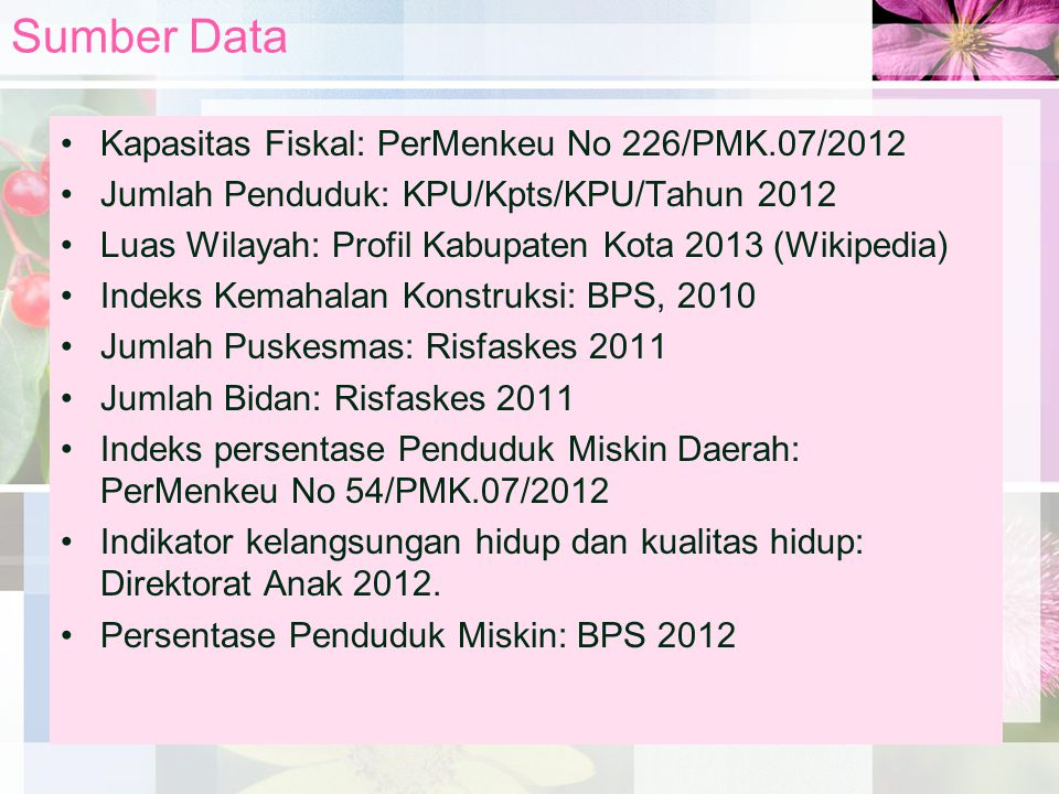 Sumber Data Kapasitas Fiskal: PerMenkeu No 226/PMK.07/2012